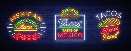 Tacos set of neon-style logos. Collection of neon signs, symbols, bright billboard, nightly advertising of Mexican food Taco.