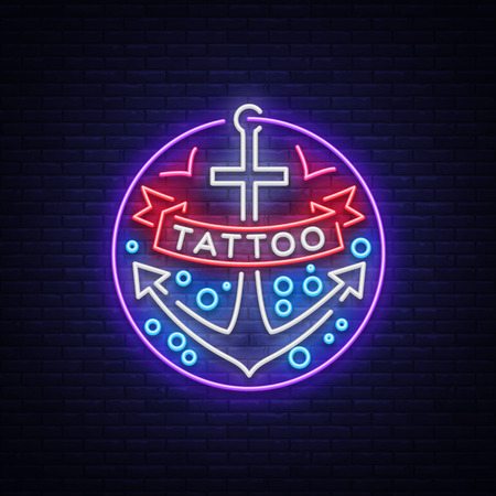 Tattoo salon in a neon style. Neon sign, emblem, anchor symbol with a ribbon, luminous billboard, neon advertising on a tattoo theme, for tattoo salon, studio. Vector illustration.
