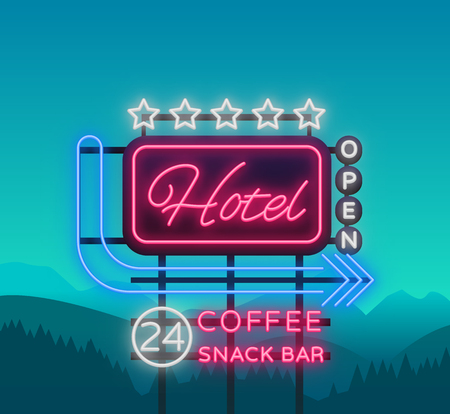 Hotel is a neon sign. Vector illustration. Retro signboard, billboard indicating the hotel, nightlight bright neon advertising of the hotel, luminous billboard, a bright banner for your projects. Illustration