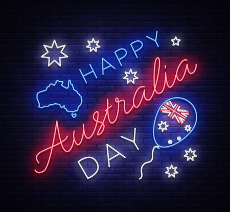 Happy Australia Day neon sign vector. Neon banner, bright card, luminous sign. Night neon welcome card Happy Australia 26 January. Flyer, design template for your projects.