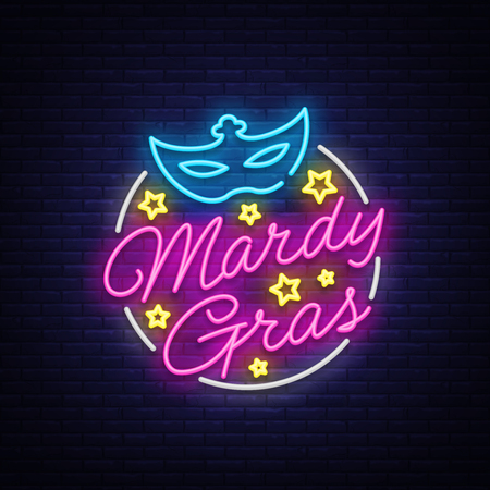 Mardi Gras design template for greeting cards, flyers, greeting. Fat Tuesday is a festive illustration in neon style, neon sign, holiday symbol, bright luminous banner, neon billboard. Vector.