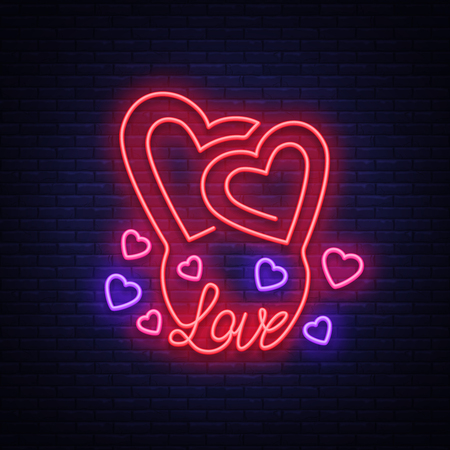 Love symbol vector. Neon sign on the theme of Valentine s Day. Flaming banner for greetings, leaflet, flyer. Bright night neon advertisement for the day of lovers. Billboard, celebratory poster.