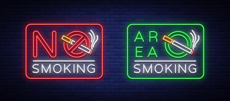 Zone fumeurs et neon tabagisme neon signes. Symbole néon, un signe lumineux est un endroit pour fumer. Néon signe de l'interdiction de fumer. Signe lumineux, bannière lumineuse. Banque d'images - 92926509