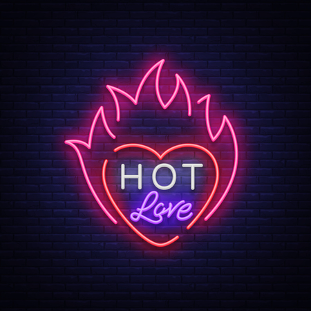 Hot love symbol for Valentine s day. Neon sign, bright banner, night whiteboard.