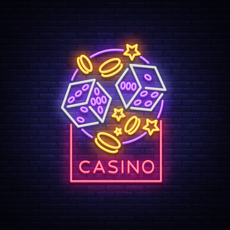 Neon logo, emblem gambling, bright banner, neon casino advertising for your projects. Night light billboard, design element.
