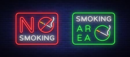Zone fumeurs et neon tabagisme neon signes. Symbole néon, un signe lumineux est un endroit pour fumer. Banque d'images - 93074166