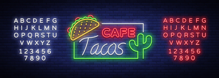 Taco logo vector. Neon sign on Mexican food, Tacos, street food, fast food, snack. Bright neon billboards, shining nightly ads of tacos, Mexican food, cafes, restaurants. Editing text neon sign.