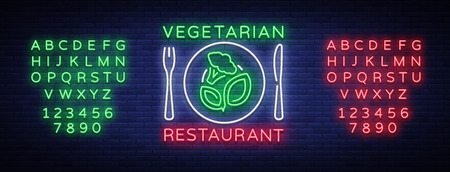 Vegetarian restaurant logo neon bright luminous advertising sign vegan healthy food symbol