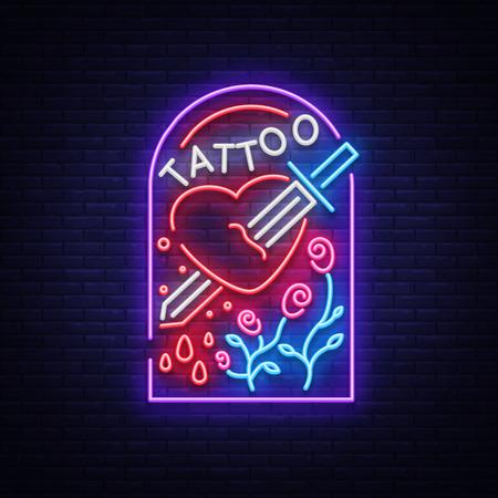Tattoo studio signage in neon style. Illustration