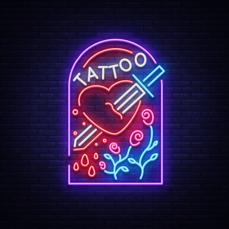 Tattoo studio signage in neon style. Stok Fotoğraf - 93064915