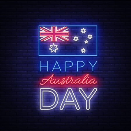 Happy Australia Day on January 26 festive background with flag in neon style. Neon sign, ribbon with national colors. Layout of the template for card, banner, poster, flyer, card. Vector illustration.