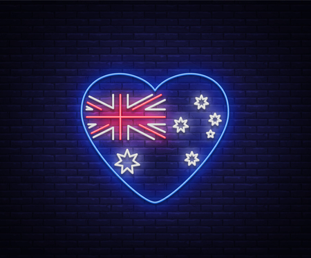 Australian flag in the form of a heart neon sign. Vector Illustrations, Neon Banner, Luminous Billboard, Bright Night Advertising. Element, a neon symbol for the day of Australia on January 26th.