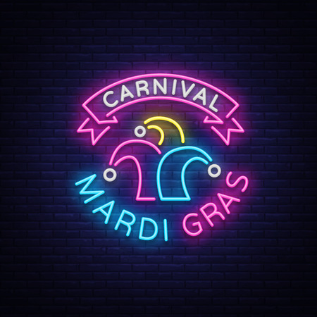 Mardi Gras vector symbol with holiday greetings, festive card. Fat Tuesday, festive illustration in neon style, luminous banner, neon sign, bright billboard. Design a template for a carnival.