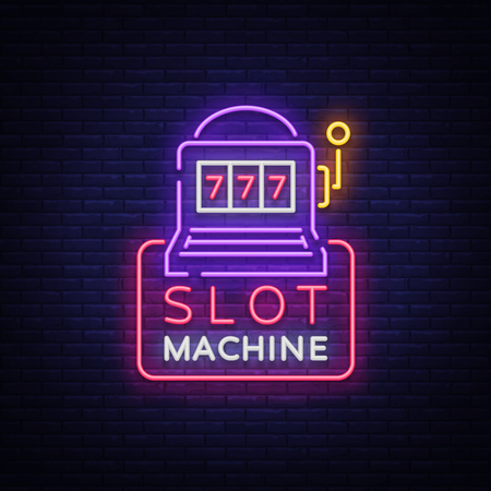 Slot machine logo in neon style. Neon sign, bright luminous banner, night billboard, bright nightly advertising of casinos, gaming machines and gambling for your projects. Vector illustration.