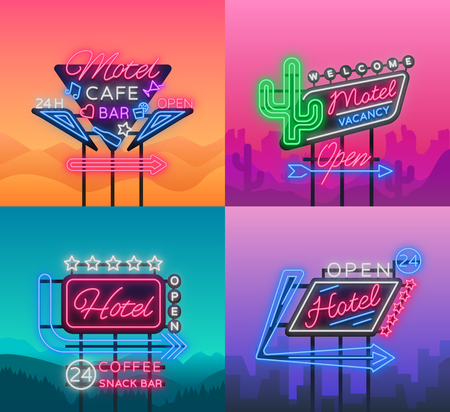 Hotel and Motel are collection of neon signs. Vector illustration. Collection of Retro signboards. Illustration
