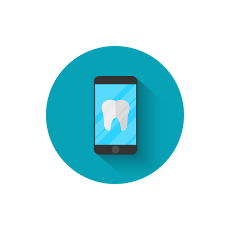 Tooth icon on a smartphone, modern dentistry in a flat style design of vector illustration. Modern icon of dentistry. Website and design for mobile applications and other your projects.