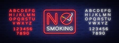 喫煙ベクトルネオンサインはありません。明るいシンボル、アイコン、無許可の場所での喫煙の発光警告サイン。テキストネオン記号を編集してい