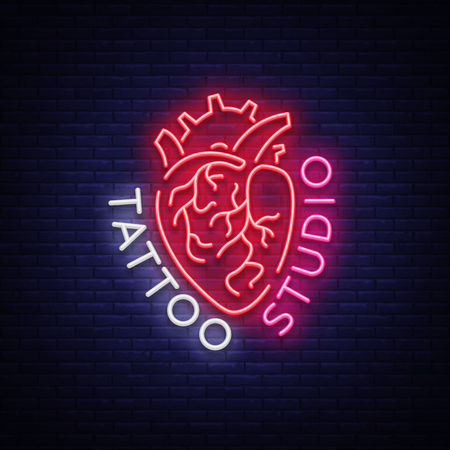 Tattoo studio logo, neon sign, symbol of human heart, bright billboards, night banner, neon bright advertising on tattoos, for tattoo salon, studio. Vector illustration for your projects.