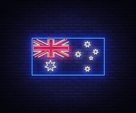 Flag of Australia is a neon sign. Vector Illustrations, Neon Banner, Luminous Billboard, Bright Night Advertising. Element symbol for the day of Australia. Çizim