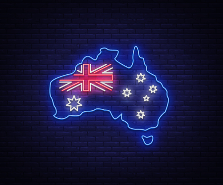 Map and Flag of Australia are a neon sign. Vector Illustrations, Neon Banner, Luminous Billboard, Bright Night Advertising. Element symbol for the day of Australia.