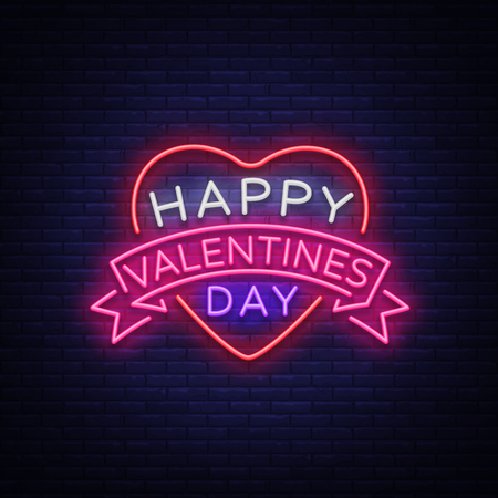Happy Valentine s Day is a neon sign. Bright light banner, neon billboard, vivid advertising, brochure. Design a template for greetings, advertising, postcard, flyer, card. Vector illustration.  イラスト・ベクター素材