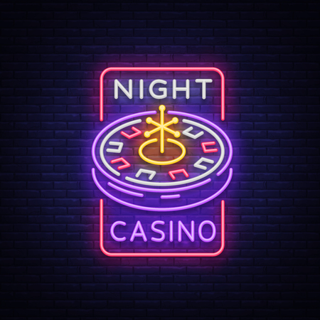 Night casino logo in neon style. Roulette Neon sign, bright luminous banner, night billboard, bright advertisement of casinos, gaming machines and gambling for your projects. Vector illustration.