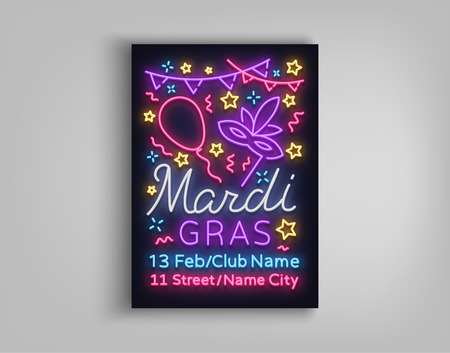 Mardi Gras poster design template in neon style. Neon sign, bright luminous sign, brochure, invitation, postcard, vivid advertising of a fat Tuesday. Flyer, banner. Vector illustration.