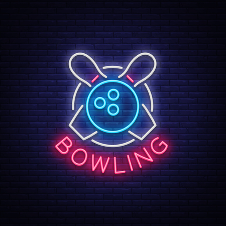 Bowling is a neon sign. Symbol emblem, Neon style logo, Luminous advertising banner, Night bright luminous billboard, Design template for the Bowling Club, Bowling Tournaments. Vector illustration 向量圖像