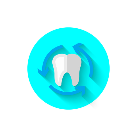 Tooth icon isolated in flat design style vector illustration. Modern, minimalist icon on the theme of stomatology in stylish colors. Website and design for mobile apps and other projects of yours. Stock Vector - 93142297