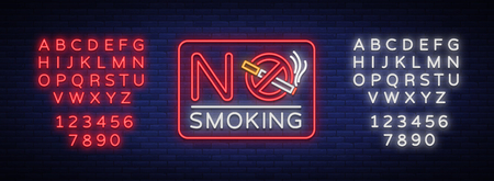 No smoking vector neon sign. Bright symbol, icon, luminous warning sign of smoking in an unauthorized place. Editing text neon sign. Neon alphabet.