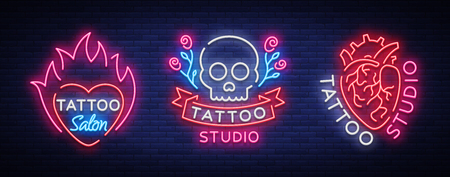 Tattoo salon set of logos vector. Collection of neon signs, symbols of the human heart, skull with roses, bright luminous billboard, neon bright advertising on tattoo theme, for tattoo salon, studio.