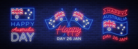 Happy Australia day set of neon signs. Collection of neon banners, colorful postcard, Night neon welcome card Happy Australia 26 January. Flyer, design template for your projects. Vector.
