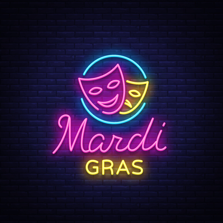Mardi Gras is a neon sign. Bright glowing banner, luminous sign, bright neon billboard, night neon advertising of carnival. Fat Tuesday Design template, greeting card, flyer. Vector illustration.
