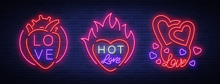 愛はシンボルのセットです。バレンタインデーをテーマにしたネオンサインのコレクション。あいさつ、リーフレット、チラシの炎のバナー。恋人