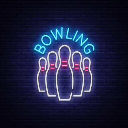 Bowling is a neon sign. Symbol emblem, Neon style symbol, Luminous advertising banner, Night bright luminous billboard, Design template for the Bowling Club, Bowling Tournaments. Vector illustration Ilustracja
