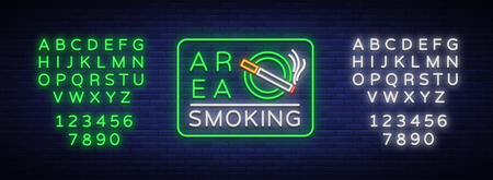 Smoking area is a vector neon sign. Neon symbol, a luminous sign is a place for smoking. Bright sign, luminous banner. Editing text neon sign. Neon alphabet