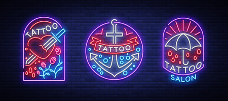 Tattoo parlor set of logos in neon style.