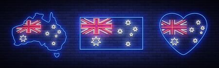 Flag and map of Australia is a collection of neon signs. Vector Illustrations, Neon Banner, Luminous Billboard, Bright Night Advertising.