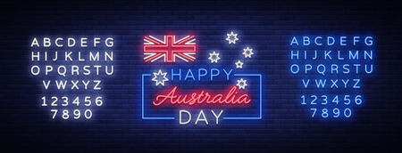 Happy Australia Day neon sign vector. Neon banner, bright card, luminous sign, Night neon welcome card Happy Australia 26 January. Flyer, design template for your projects. Editing text neon sign. 向量圖像