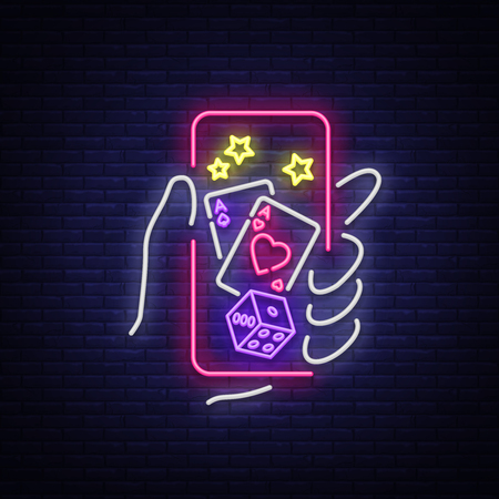 Online casino is a neon sign. Logo symbol in neon style svityaschyysya bright banner billboard night, bright neon poker, gambling casino for your projects. Play money online. Vector illustration.