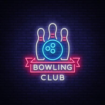 Bowling logo vector. Neonteken, symbool, heldere banner die heldere nachtkegelen adverteren, lichtgevend neonaanplakbord. Ontwerp een sjabloon voor het Bowling Club-logo. Vector illustratie