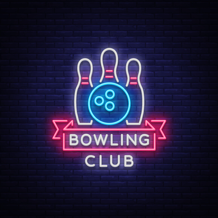 Bowling logo vector. Neon sign, symbol, bright banner advertising bright night bowling, luminous neon billboard. Design a template for the Bowling Club logo. Vector illustration Vectores