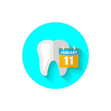 Tooth and calendar, illustrated in a flat design style of vector illustration. Modern icon of dentistry. Website and design for mobile applications and other your projects.
