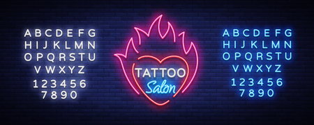 Tattoo salon symbol vector. Neon sign, a symbol of heart in the fire, a bright luminous billboard, neon bright advertising on a tattoo theme, for a tattoo salon, studio. Editing text neon sign.
