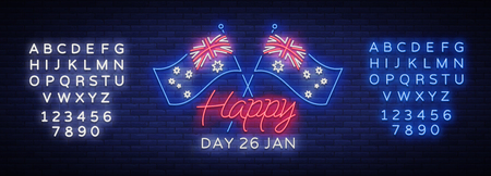 Happy Australia Day neon sign vector. Neon banner, bright card, luminous sign, Night neon welcome card Happy Australia 26 January. Flyer, design template for your projects. Editing text neon sign. Ilustrace