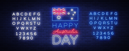 January Australia Day. Neon sign, luminous banner, bright night advertising. National conceptual greeting card, poster web-banner design. Vector illustration. Editing text neon sign.
