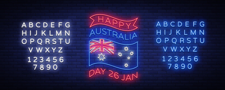 January, Australia Day. Neon sign, luminous banner, bright night advertising. National conceptual greeting card, poster web-banner design. Vector illustration. Editing text neon sign. Illustration