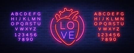 愛のシンボルベクトル。バレンタインデーをテーマにしたネオンサイン。あいさつ、リーフレットの炎のバナー。恋人の日のための明るい夜のネオ