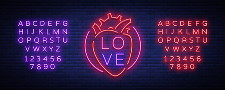 Love symbol vector. Neon sign on the theme of Valentine s Day. Flaming banner for greetings, leaflet. Bright night neon advertisement for the day of lovers. Editing text neon sign.
