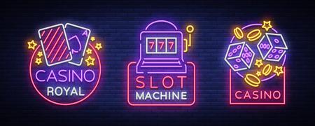 カジノはネオンサインのセットです。スロットマシンのギャンブルエンブレムのネオンシンボルのコレクション、あなたのプロジェクトのための明